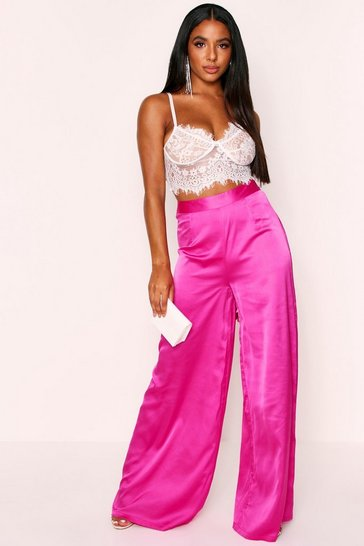 Womens Fuchsia Highwaisted Extreme Wideleg Satin Trousers