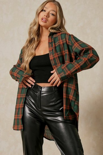 Womens Green Brushed Check Oversized Shirt
