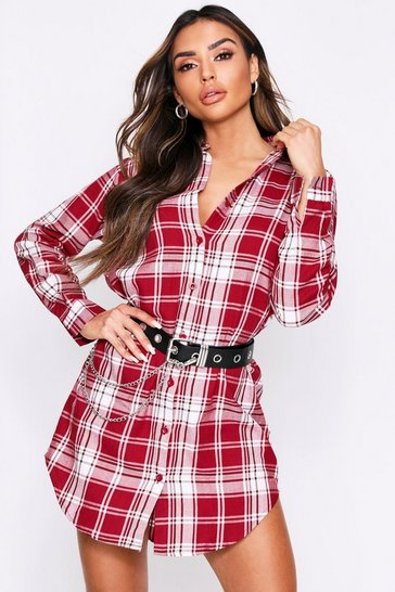 Womens Burgundy Brushed Checked Oversized Shirt Dess