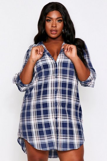 Womens Navy Brushed Checked Oversized Shirt Dress