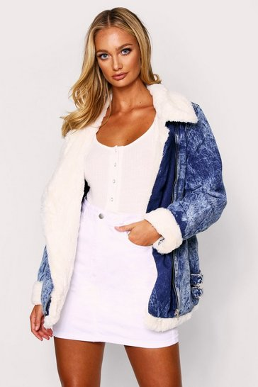 Womens Blue Faux Fur Lined Biker Denim Jacket