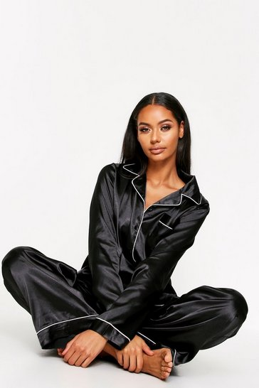 Womens Black Satin Button Through PJ Trouser Set
