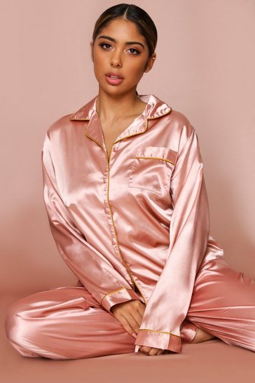 Champagne Satin Button Through PJ Trouser Set