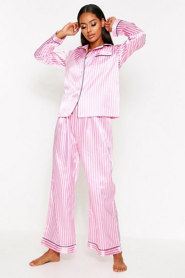 Pink Satin Button Through PJ Trouser Set