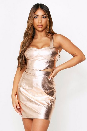 Womens Rose gold Metallic Faux Leather Mini Skirt
