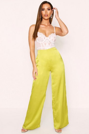 Lime High Waisted Wide Leg Satin Trousers