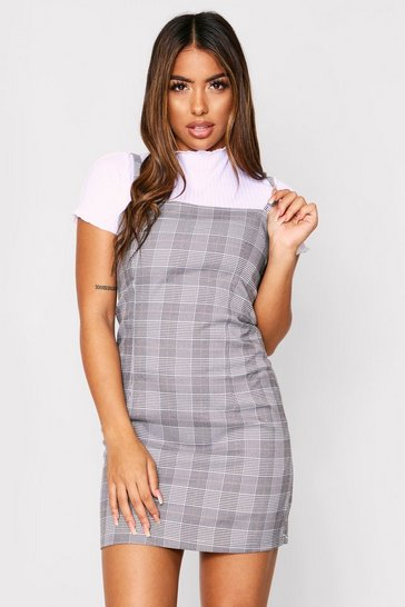 Womens Pink Square Neck Checked Pinafore Dress
