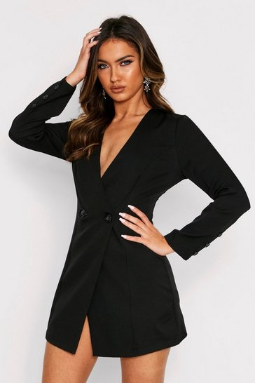 Womens Black Button Detail Simple Blazer Dress