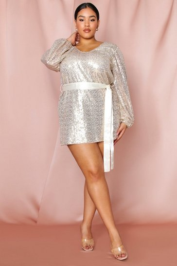 Womens Gold Balloon Sleeve Tie Waist Sequin Dress