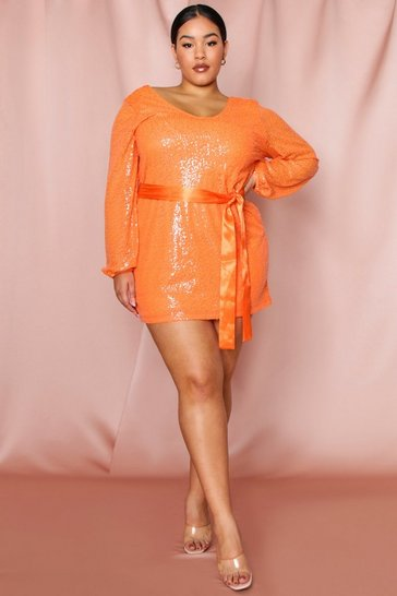 Womens Orange Balloon Sleeve Tie Waist Sequin Dress
