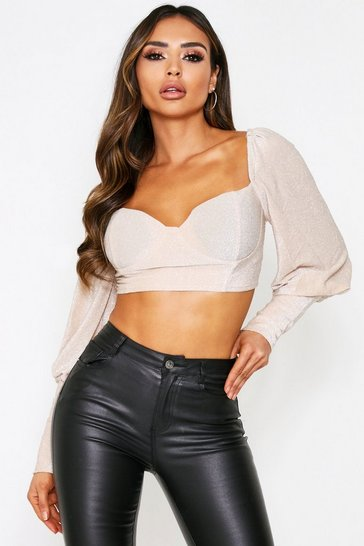 Champagne Glitter Puff Sleeve Cupped Top