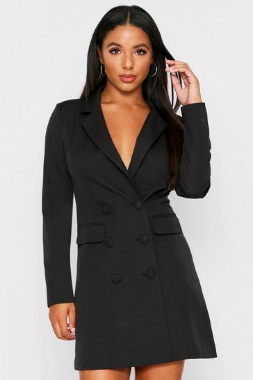 Womens Black Double Breasted Tailored Blazer Dress