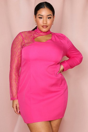 Fuchsia Lace Sleeve Cut Out Bodycon Dress