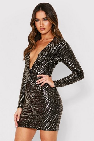 Womens Gold Twist Front Sequin Dress
