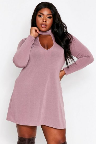 Blush Keyhole Cut Out Swing Dress