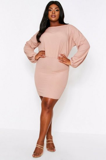 Camel Rib Balloon Sleeve Mini Dress