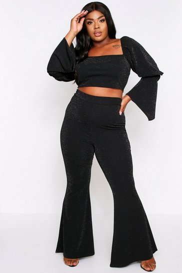 Black Glitter High Waist Trouser