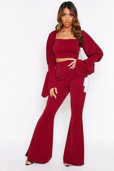 Womens Wine Glitter High Waist Trouser