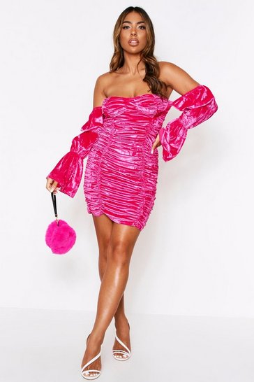Womens Hot pink Velvet Ruched Front Mini Dress