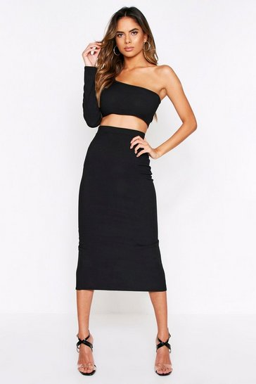 Black One Shoulder Top + Midi Skirt Co-Ord
