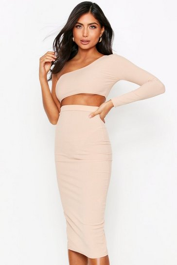 Womens Camel One Shoulder Top + Midi Skirt Co-Ord