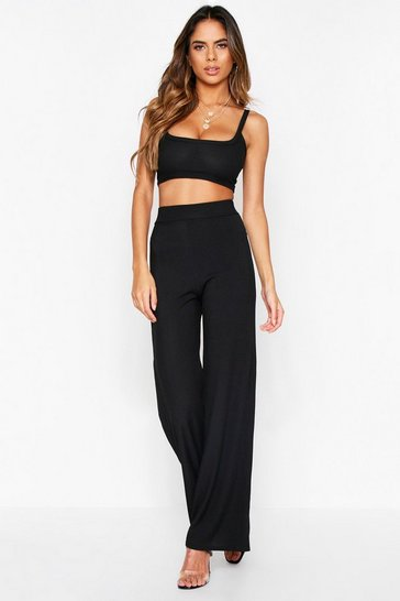 Womens Black Crop Top + Wide Leg Trouser Ribbed Co-Ord