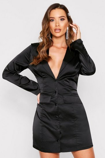 Womens Black Pocket Detail Satin Plunge Blazer Dress