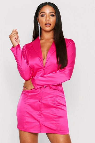 Fuchsia Pocket Detail Satin Plunge Blazer Dress