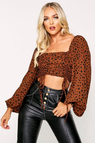 Womens Brown Animal Print Ruched Puff Sleeve Top