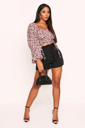 Womens Pink Animal Print Ruched Puff Sleeve Top