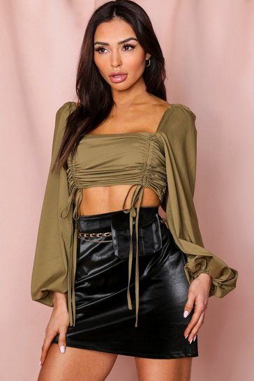 Khaki Ruched Front Puff Sleeve Top