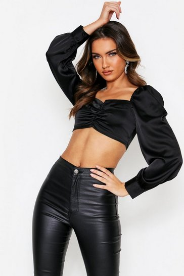 Black Button Front Puff Sleeve Satin Top