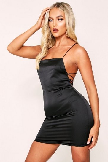 Womens Black Satin Lace Up Back Dress