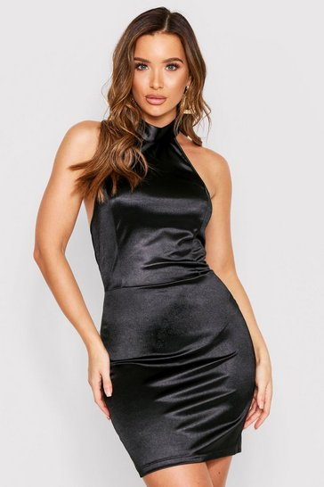 Womens Black Halterneck Backless Stretch Satin Bodycon Dress