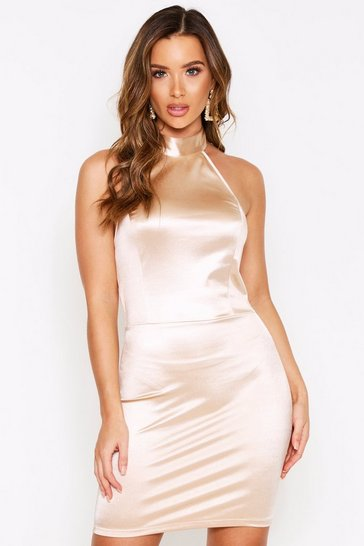 Womens Champagne Halterneck Backless Stretch Satin Bodycon Dress