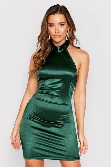 Womens Emerald Halterneck Backless Stretch Satin Bodycon Dress