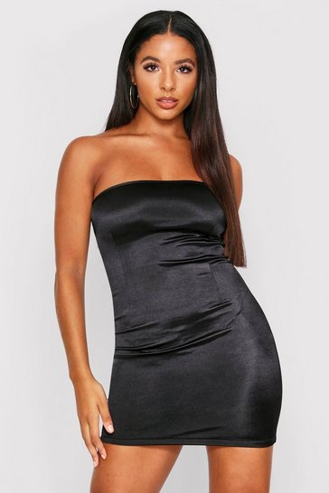 Womens Black Stretch Satin Bandeau Mini Dress