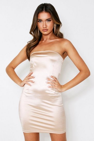 Womens Champagne Stretch Satin Bandeau Mini Dress
