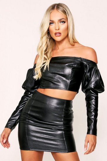 Womens Black Faux Leather Puff Sleeve Crop Top