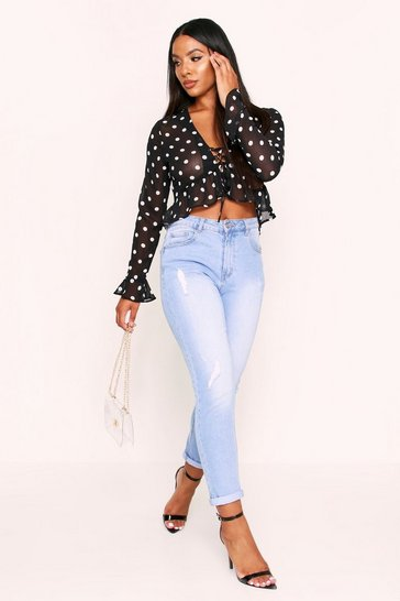 Womens Black Polka Dot Chiffon Lace Up Blouse