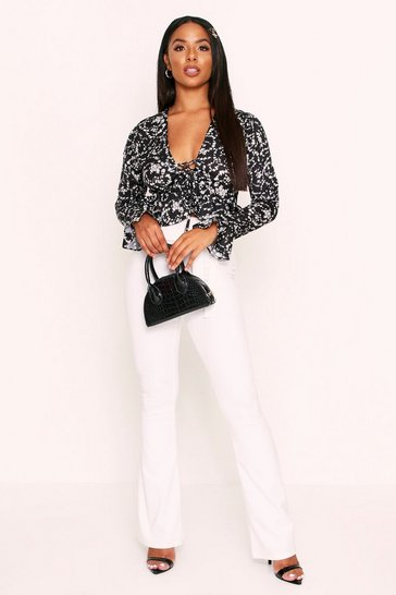 Womens Black Floral Lace Up Chiffon Blouse