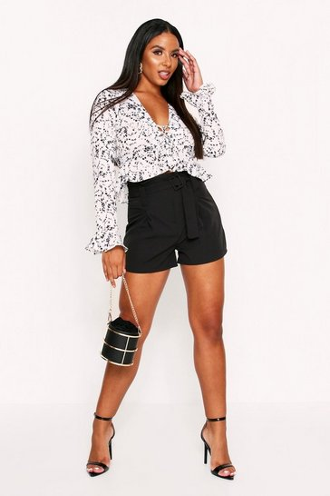 White Floral Lace Up Chiffon Blouse