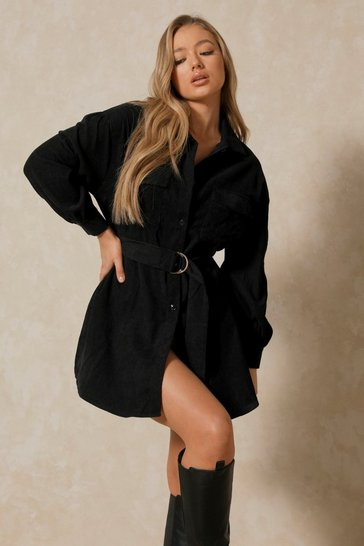 Black Belted Cord Puff Sleeve Shirt Dress