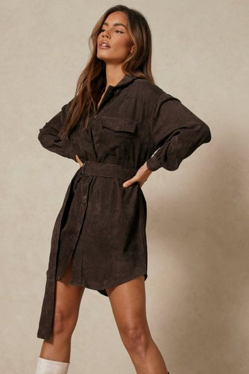 Chocolate Belted Cord Puff Sleeve Shirt Dress