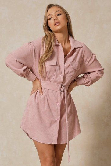 Dusky pink Belted Cord Puff Sleeve Shirt Dress