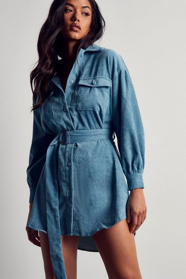 Dusty blue Belted Cord Puff Sleeve Shirt Dress