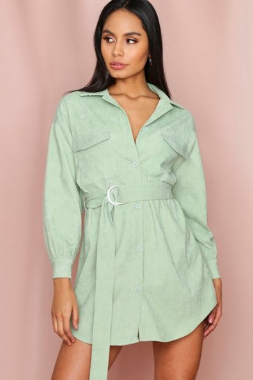Mint Puff Sleeve Belted Cord Dress