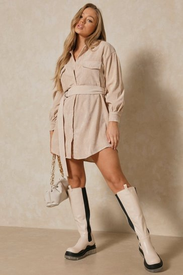 Womens Stone Puff Sleeve Belted Cord Dress