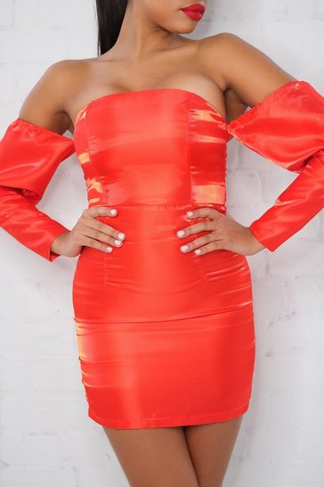 Red Metallic Look Puff Sleeve Off The Shoulder Dress