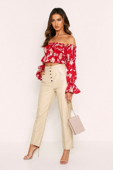 Burgundy Floral Satin Gathered Bardot Top